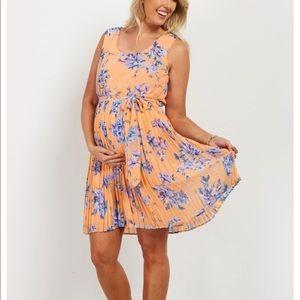 Peach Pleated Sash Maternity Dress
